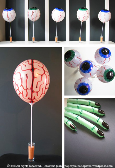 halloween balloon eyes, brain, and fingers