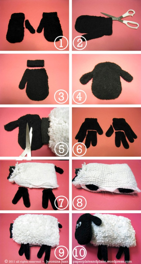 recycling ideas: sheep plush out of mitts and gloves tutorial